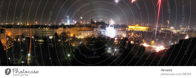 Happy new Vienna Night New Year's Eve Roof Long exposure Panorama (View) Austria Europe Firecracker town hall square Large Panorama (Format)