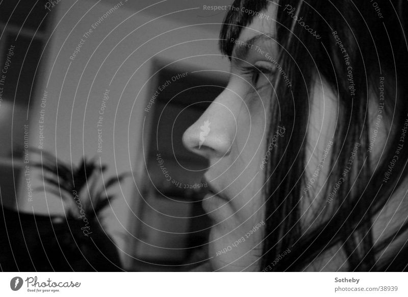 And say hello to your loved ones Woman Girl Silhouette Portrait photograph Steadfast Profile Black & white photo
