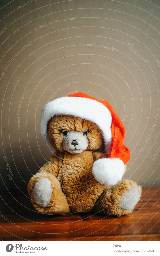 Teddy bear with Christmas cap teddy Christmas hat Christmassy material cuddly toy Santa Claus hat Infancy Red Bear Toys Christmas Teddy Christmas & Advent Brown