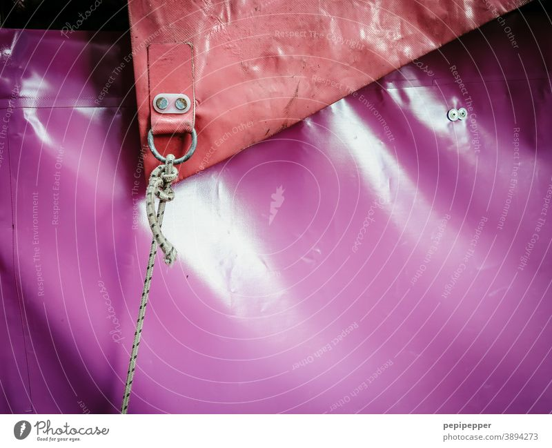 Circus tent tarpaulin Tent Exterior shot Colour photo Deserted Event Shows Rope Red pink Fairs & Carnivals Tarpaulin Detail Leisure and hobbies Entertainment