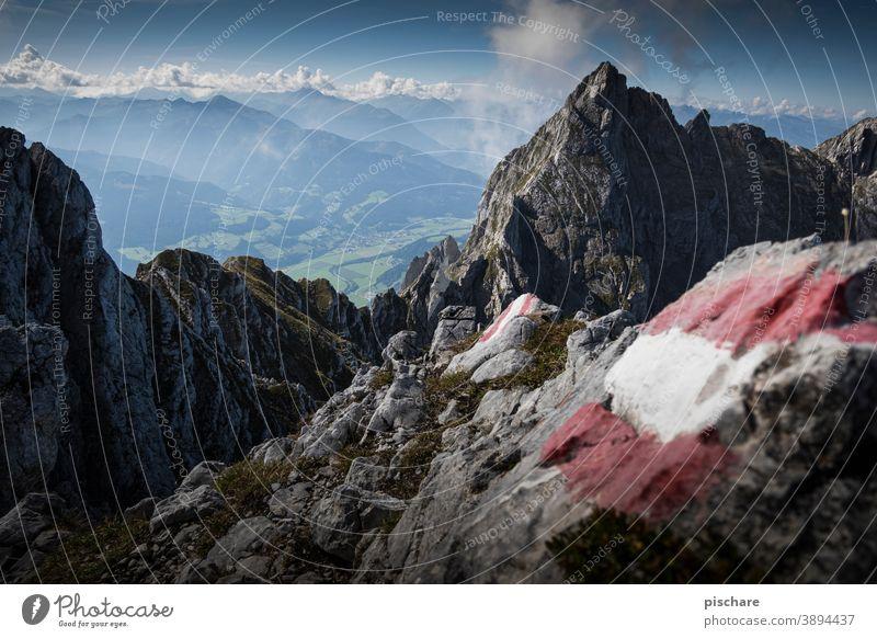 Ascent Grimming Peak mountains Austria Hiking Mountain Alps Landscape Nature Exterior shot Colour photo Vacation & Travel Rock Trip Adventure Freedom Day