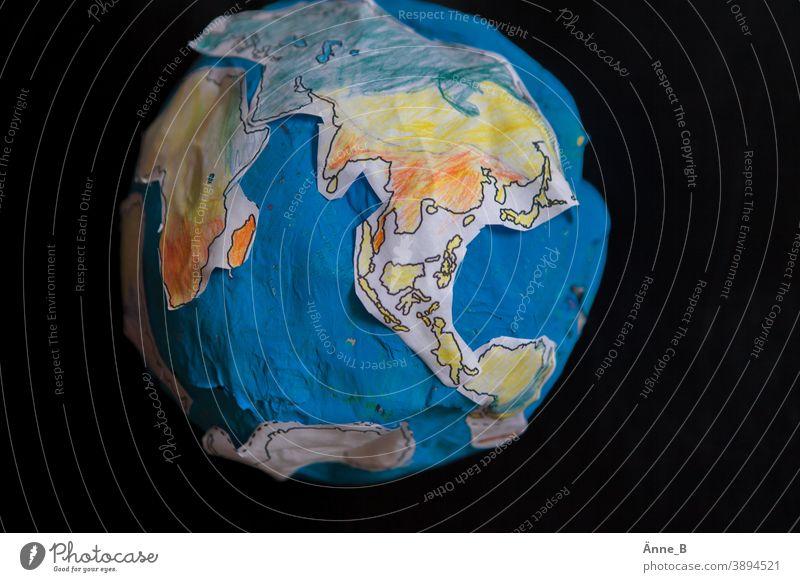 Paper globe II Earth Globe Continents Africa North America South America Asia Europe Ocean ocean Sphere papier mâché Craft materials Handicraft Children's room