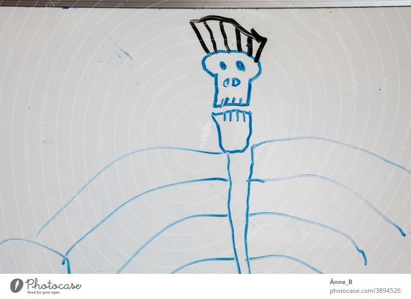 To be or not to be - children's drawing: skull Death's head rib Ribs Mohawk hairstyle Children's drawing Art Drawing whiteboard Blackboard dead Pirate Skeleton