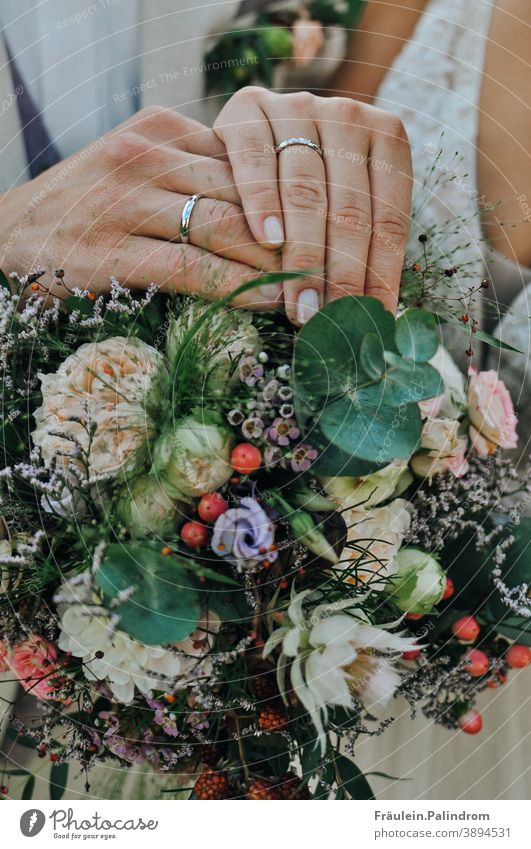 wedding hands Attachment Related Feeling of togetherness Together flowers Bouquet Ring Wedding band vintage floral marriage Matrimony Love Couple in common