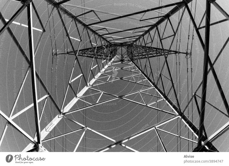 stell pillars and sky electricity power industry energy engineering high line voltage electrical technology tower construction structure industrial wire cable