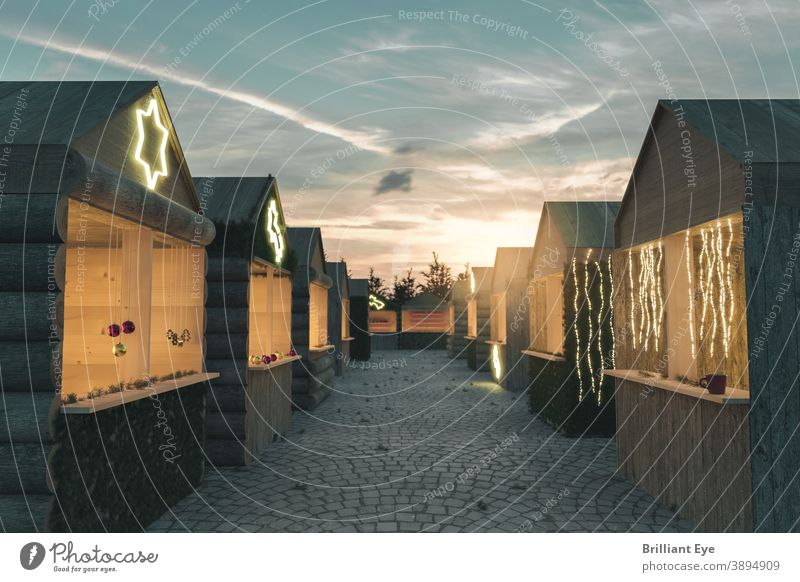 Christmas market with various wooden huts in the evening sun Alley background blessed Building celebration Christmas decoration Cobblestones Landscape