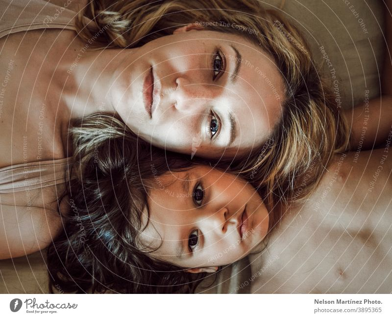 Portrait of caucasian mom and hispanic daughter. portrait family latin mixed diversity young people Woman Lifestyle Mixed race ethnicity Human being Together