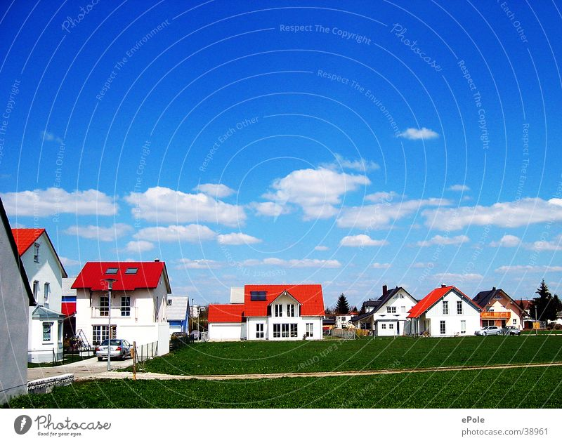 nouveau empire Settlement Architecture Blue sky red roofs green lawn