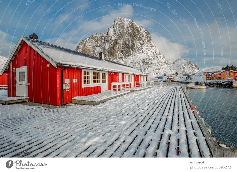 Home Sweet Home Hamnøy Lofotes Norway Scandinavia North Nordic Hut House (Residential Structure) Red Winter Snow mountain wooden walkway Footbridge Fjord Reine