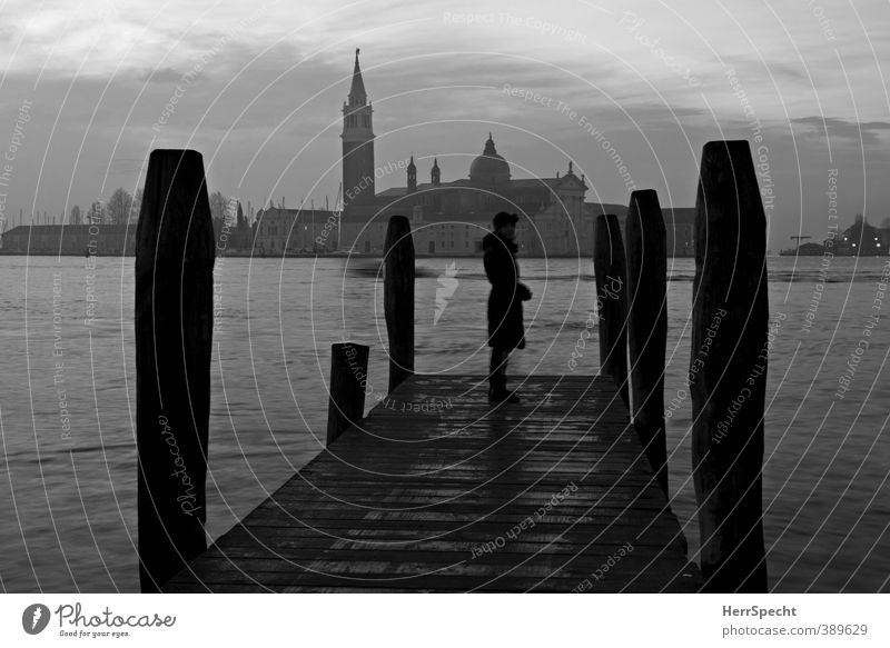Human being Woman City Ocean Loneliness Adults Dark Feminine Sadness Architecture Gray Wait Esthetic Church Grief Italy