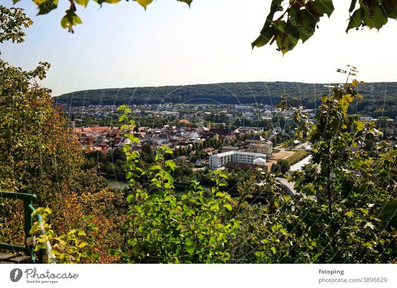 Panorama hiking trail Kelheim Altmühl Altmühl Valley Old town Trip Destination Vantage point viewing platform vantage point Bavaria Germany Danube Europe