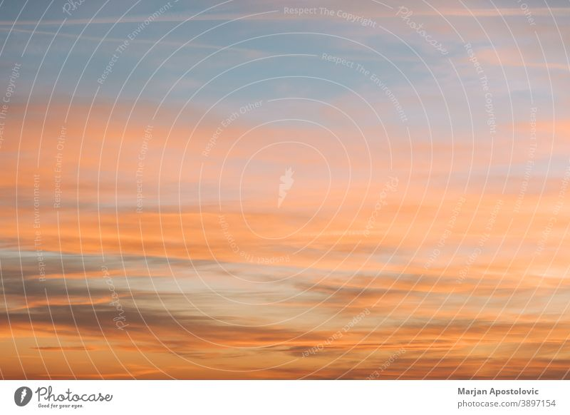 View of the beautiful sunset sky abstract air amazing atmosphere background beauty blue bright calm climate cloud cloudscape color colorful dawn dramatic dusk