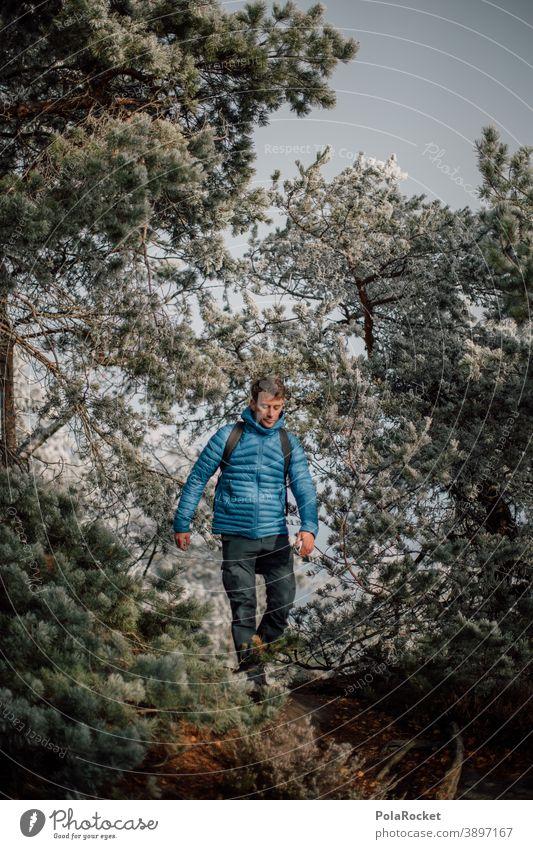 #A0# Hiking through winter forest outdoor Outdoor recreation Outdoor photography garments hike trekking Saxon Switzerland Man Adventure Nature Exterior shot