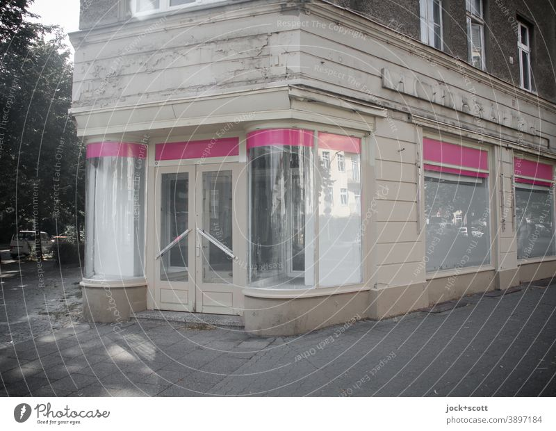 Fashion was once a business Facade Store premises Storefront Vacancy Ravages of time Retro Past Sidewalk Style Architecture Corner Pankow GDR Change lost places