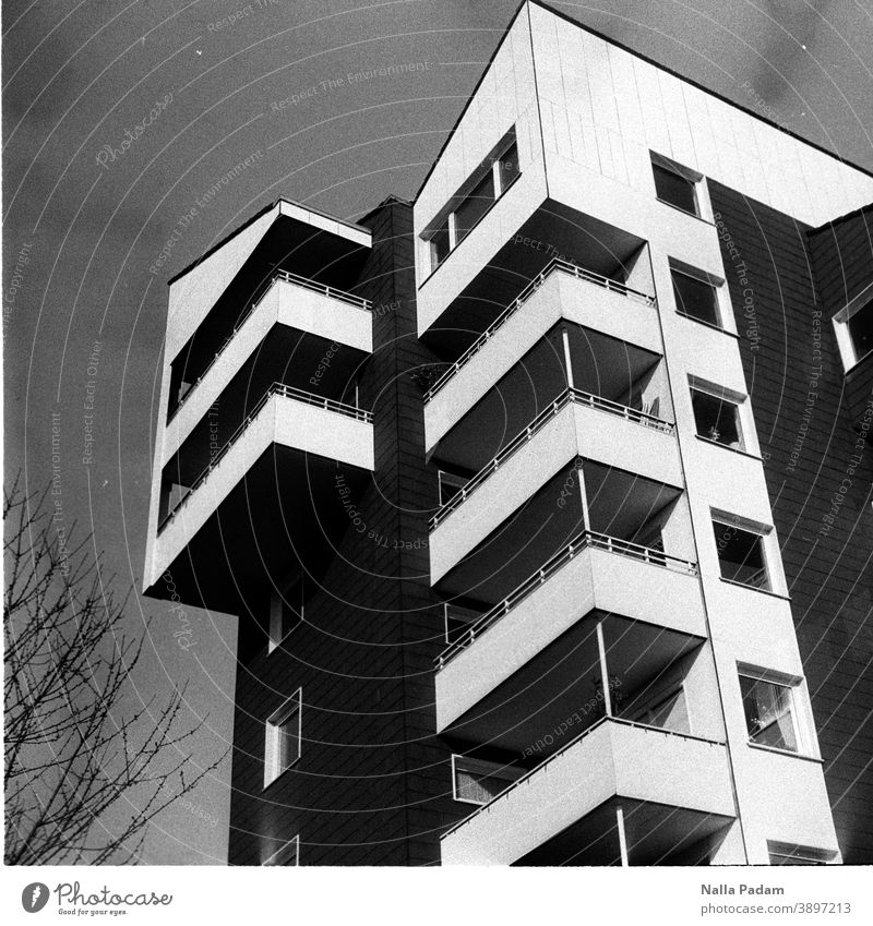 High-rise in black and white Analog Analogue photo Black & white photo dwell House (Residential Structure) Balcony Window Town The Ruhr Bochum Exterior shot