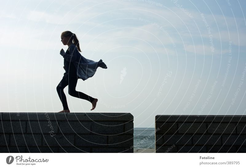childhood Human being Feminine Child Girl Infancy Body Head Hair and hairstyles Legs Feet 1 Sky Clouds Esthetic Athletic Bright Walking Running Wall (barrier)