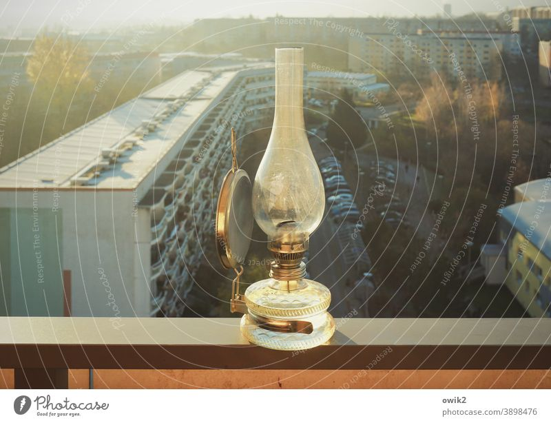 balkonies Oil lamp balustrade Panorama (View) Horizon Sunlight Balcony Above wide silent Glass Metal Exterior shot Colour photo Deserted Translucent Light