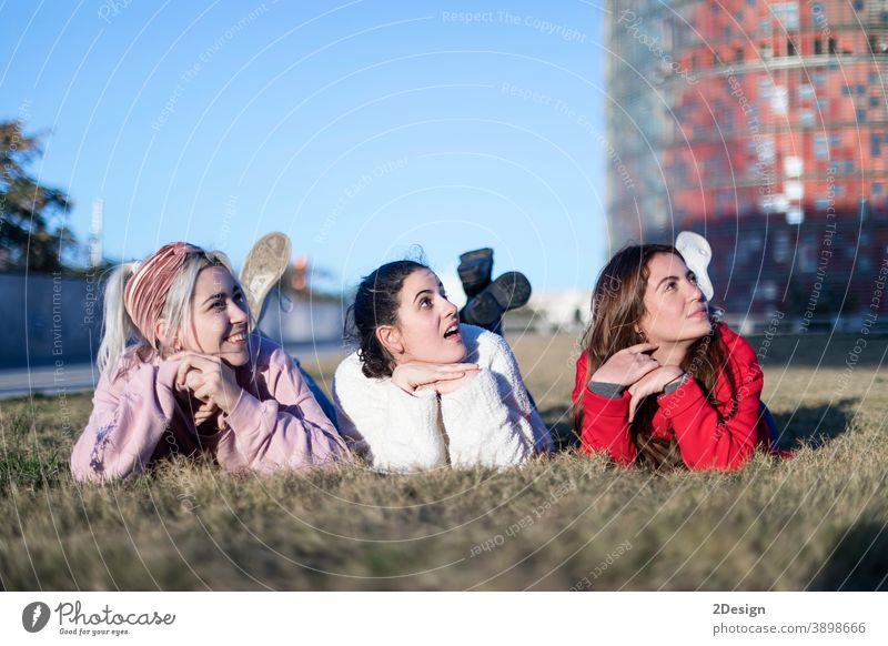 Three beautiful young women lie on the lawn, resting and daydreaming in the park on the green grass. happy lying woman three smiling friendship ground female