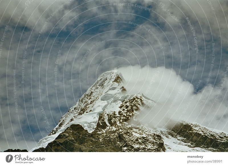 Snow Mountain Landscape Fog Snowscape Glacier Haze Snowcapped peak Peru Clouds in the sky Bright background