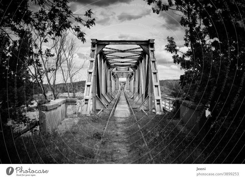 Old Europe Bridge on the Oder in black and white | Connecting Germany and Poland | Neighbourhoods ore fold Railway bridge Brandenburg pomeranian West Pomerania