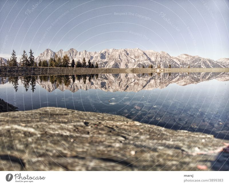 Dachstein and its colleagues in real and as a reflection in a mountain lake. Loneliness Silence Hiking silent Calm Vacation & Travel Dachstein massif