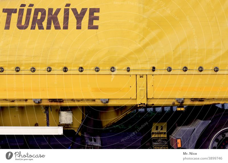 systemrelevant I on the road for us Logistics Transport Street Truck Means of transport Vehicle Trailer Turkey Europe Yellow truck tarpaulin truck trailers