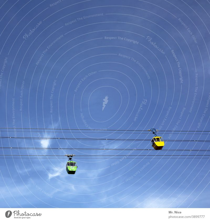 Cologne at the top gondola Cable car Sky Blue sky Gondola Aviation Wire cable Downward Wasted journey Upward Hover Yellow Passenger traffic Means of transport