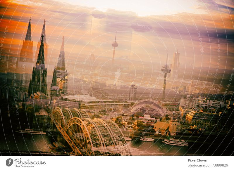 Surreal panorama picture of Cologne Architecture Dome Cologne Cathedral Tourist Attraction Town Skyline Landmark Manmade structures Rhine Church Germany Bridge