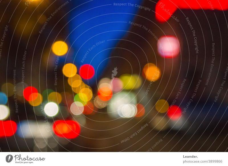 Light in the street bokeh blurred blurriness Blur in the background Dark Sea of light Street Red Transport cars