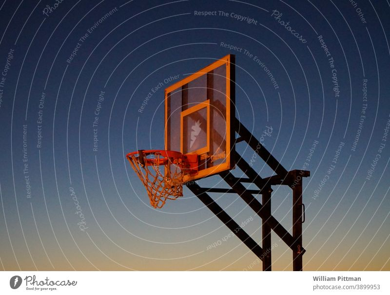 Hoops Basketball Basketball basket basketball court Moody Dramatic Sunset Sports Ball sports streetball Sky Deserted Playing Leisure and hobbies Colour photo