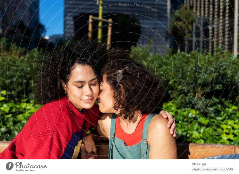 Smiling lesbian couple embracing and relaxing on a park bench affectionate closeness ethnic ethnicity friends friendship laughing lover loving multiracial