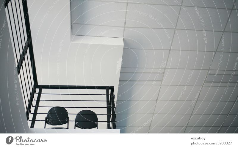 empty chair on second floor Pattern Detail Abstract Structures and shapes Line Arrangement Design Perspective Modern Facade Esthetic Manmade structures