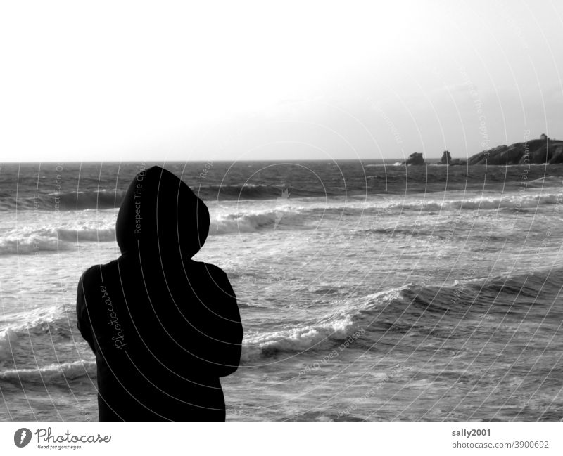 enjoy the view... Ocean coast ocean Waves Surf White crest Beach Swell Elements Nature Force Wild Force of nature Wind Human being Observe Hooded (clothing)