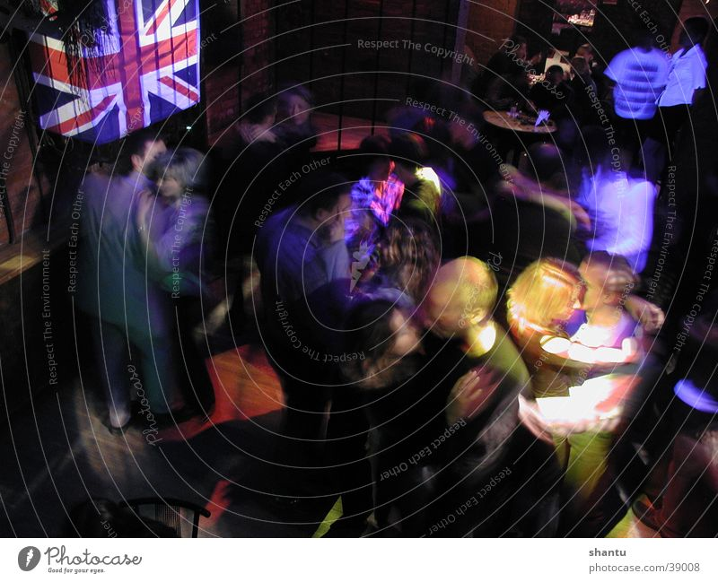 Englishman in Kiev Party Club Great Britain England Disco Group Dance Party mood Party goer Union Jack Bird's-eye view