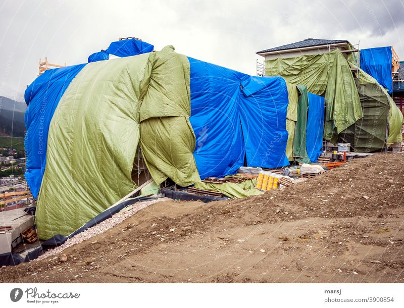 Colour combination | construction site covering with huge tarpaulins Envelop Construction site distended Plastic Covers (Construction) Protection Wrinkles Green