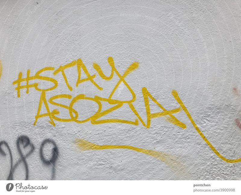 Stay antisocial stands on a white wall. Graffiti. Social media. Hashtag. hash day instagram social media Criticism Media Youth culture Cellphone Mobility