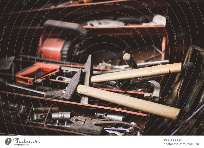 old toolbox Toolbox tools Work and employment Interior shot Profession Workshop Craftsperson Leisure and hobbies Craft (trade) Dirty Pair of pliers Deserted