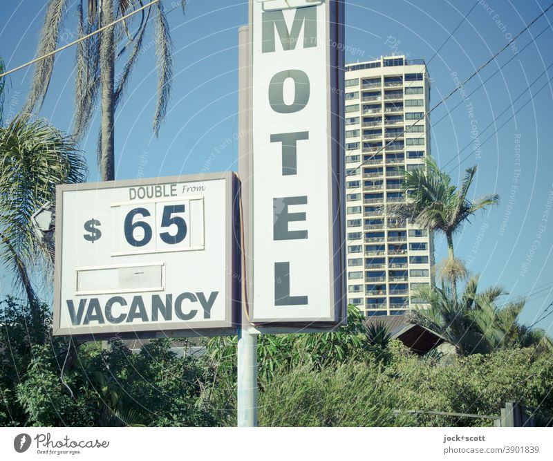free double room 65$ for motel Signs and labeling Motel Accommodation Typography Characters Billboard Vacation & Travel Lightbox price Australian dollar