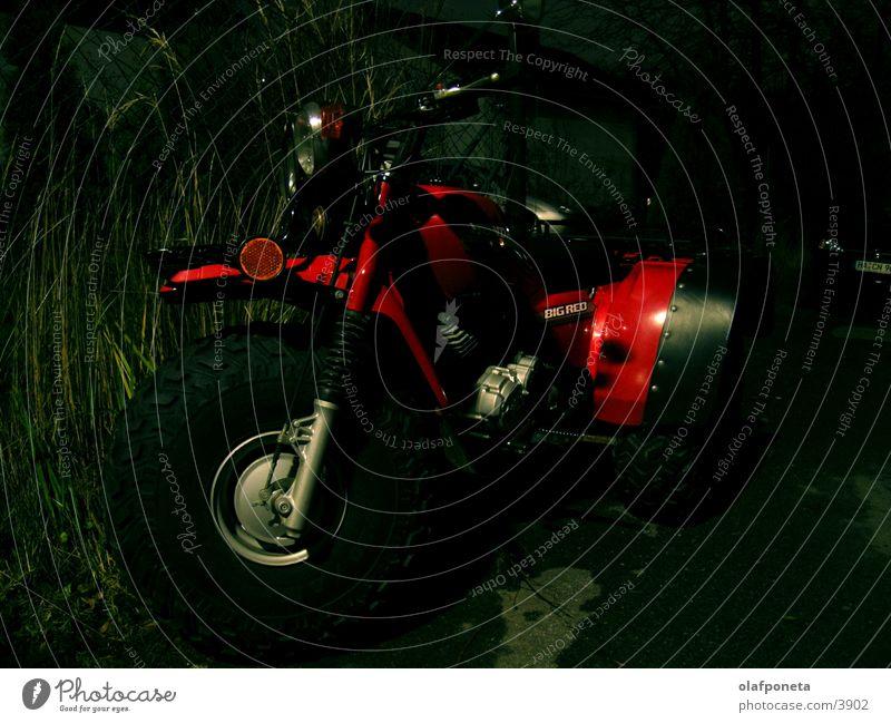 Big Red Tricycle Motorcycle Night Dark Speed Dangerous Transport