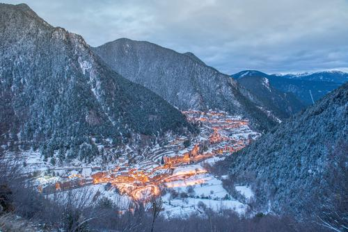Cityscape of Arinsal, La Massana, Andorra in winter andorra andorra ski arinsal blue buildings cable cableway chair lift cold europe forest high hotels ice la