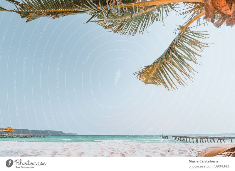 Deserted white sand beach of Koh Rong Island which is usually a tourist summer destination, shows the effect of covid-19 pandemic in the tourism and travel industry