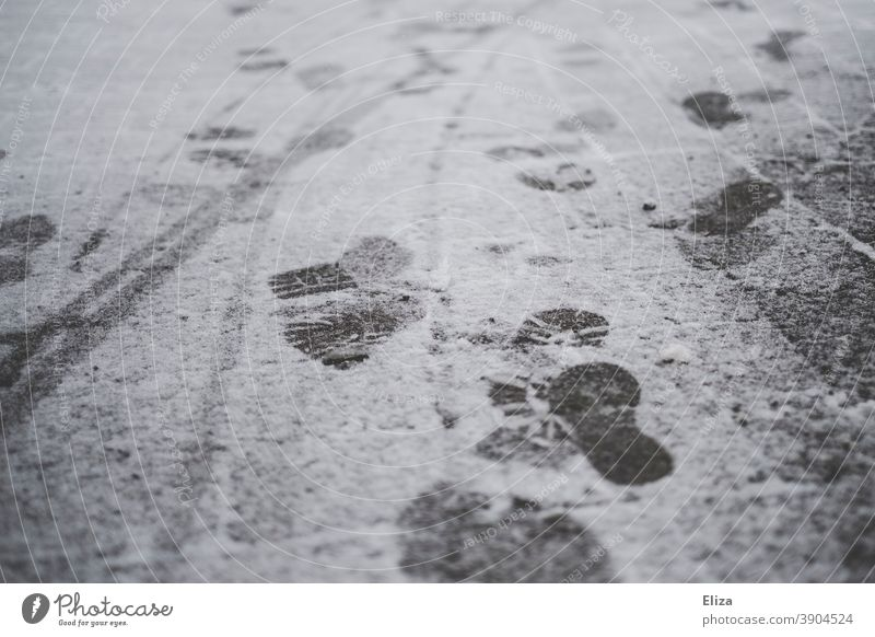 Footprints in the snow Snow Winter Tracks footprints Ground Cold White Virgin snow Going Asphalt Snow layer Snow track