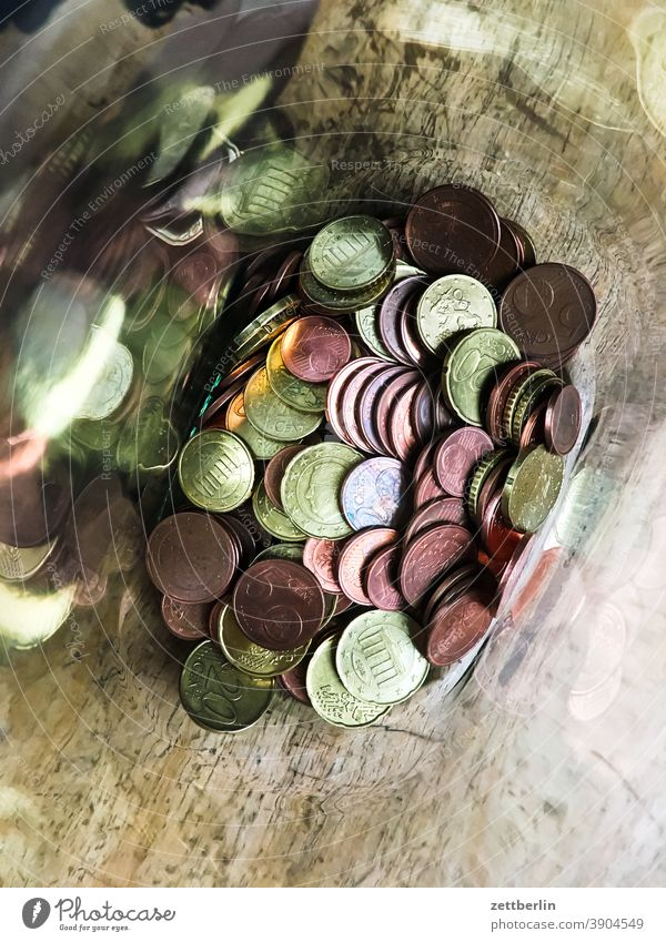 Coins in a jar Money Coinage Cent penny Hard cash piggy bank Glass small change Euro Save Pocket money gratuity Amount amount of money Charity