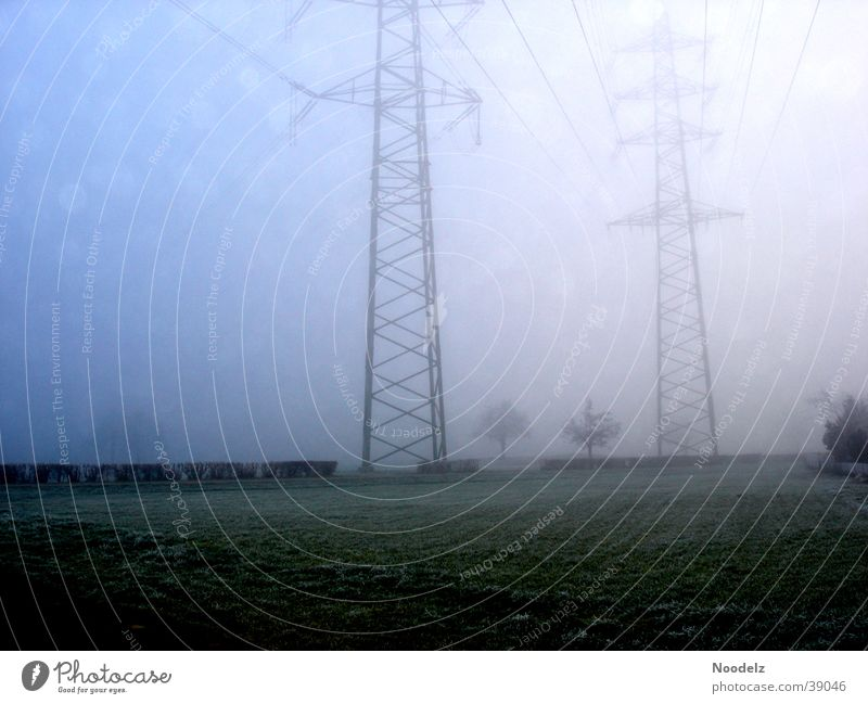 Blue Winter Cold Snow Fog Electricity pylon
