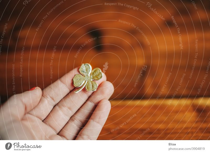 Hand holds a golden four-leaf clover. Lucky charm for New Year's Eve. Good luck charm Happy Cloverleaf Four-leaved Four-leafed clover turn of the year
