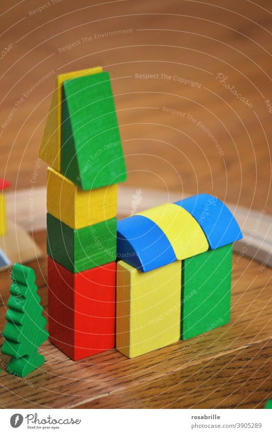 colourful wooden bricks as a small church | colour combination Wood blocks variegated Church game Toys Build children children's toy Building blocks Brick