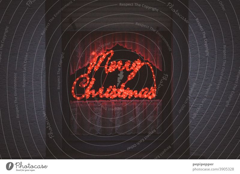 Merry Christmas Christmas & Advent Decoration Winter Feasts & Celebrations Christmas decoration Colour photo Neon light x-mas Text Typography typography Design