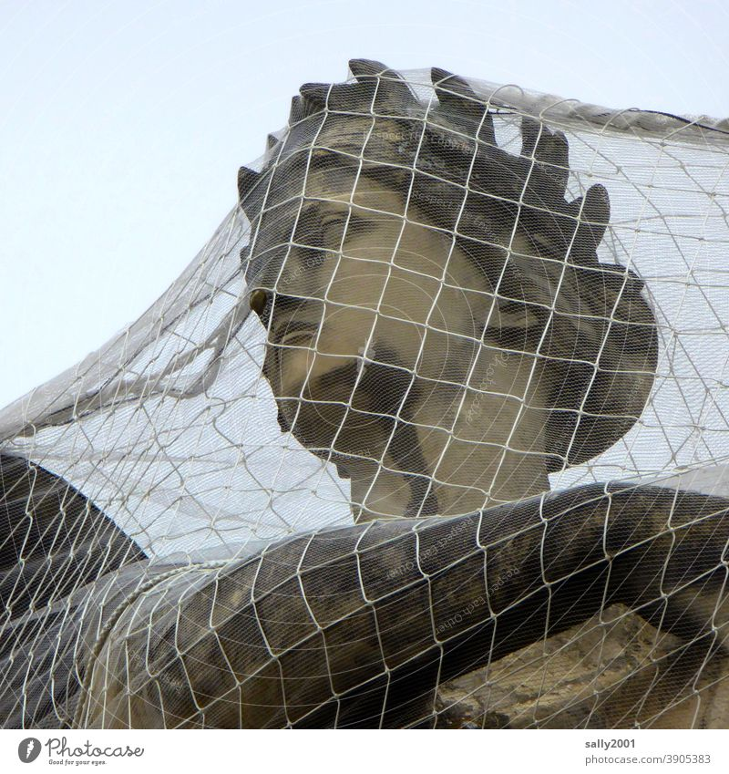 trapped... protected... Statue Sculpture Head Woman`s head Goddess Net close-knit Protection Union guard sb./sth. Safety Monument Stone Historic Face Art