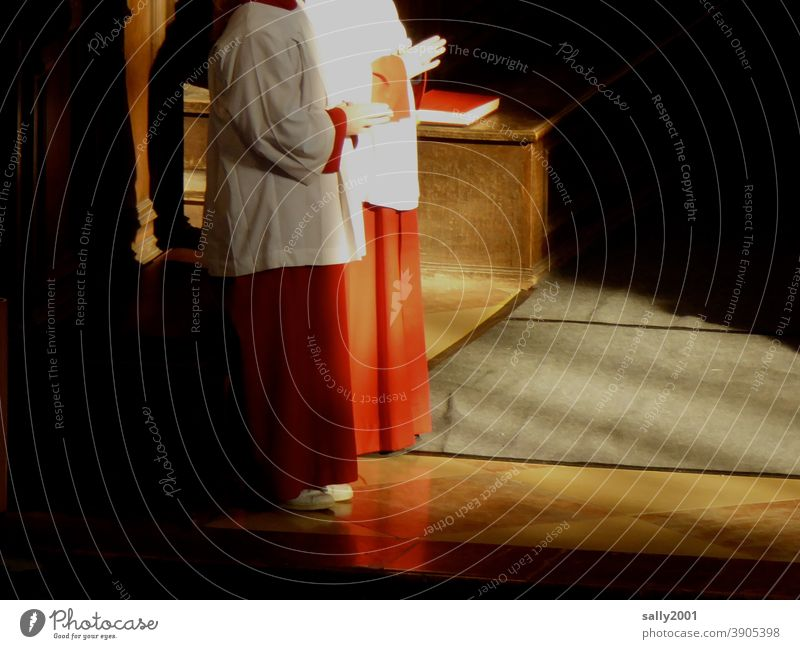 Service... Church altar boy pray celebrations Youth (Young adults) Altar boys Robe Chasuble Catholicism Christianity Religion and faith Prayer Spirituality Hope