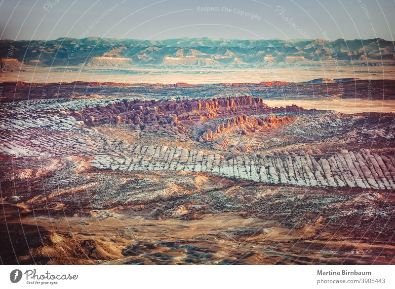 Aerial view on the landscape of the Arche National Park, Utah utah arches aerial arial view aerial landscape layers moody sunrise arches national park travel
